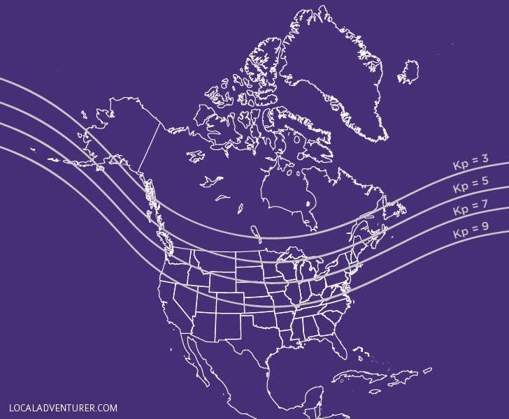 Aurora Activity - Kp Index Map North America // localadventurer.com