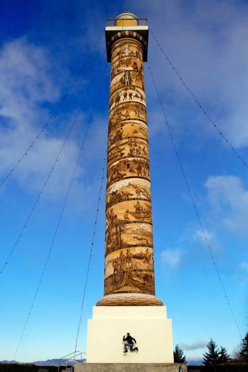 The Astoria Column (15 Unique Things to Do in Astoria Oregon) - The Astoria Column is a popular attraction along the Oregon coast. It is covered in a hand-painted spiral frieze that gets you 600 feet above sea level to give you a stunning view of the bridge and the town // localadventurer.com