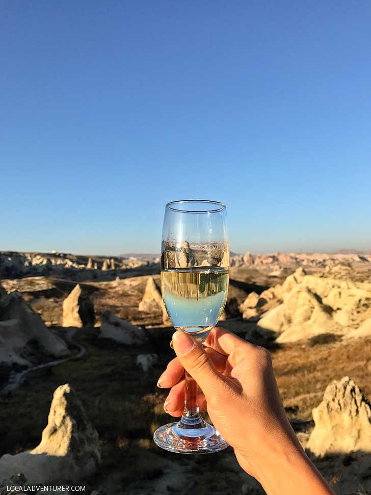 Champagne Breakfast after a magical Hot Air Balloon RIde in Cappadocia, Turkey // localadventurer.com