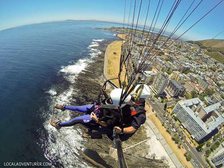 Cape Town Paragliding - one of the best things to do in Cape Town. You get a beautiful view Signal Hill, Lions Head, Table Mountain, and the ocean // localadventurer.com