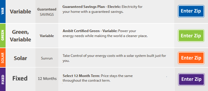 Compare Ambit Energy Rates and Plans