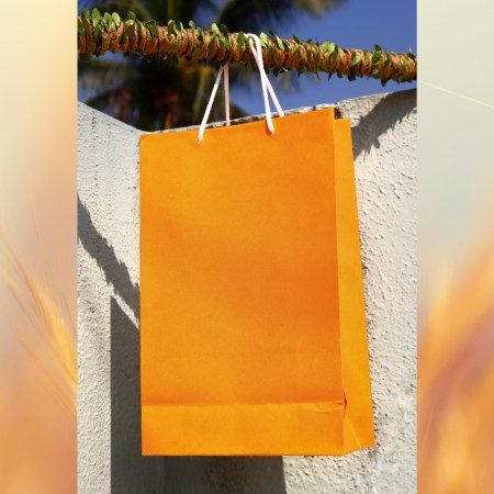 Bright orange paper bag