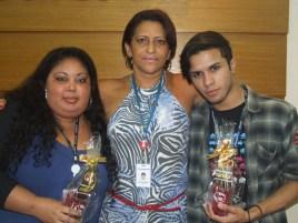 Taís Franca e Alan Victor (recuperadores premiados filial São Paulo 1) e Alda Helena (coordenadora filial São Paulo 1 - ao centro)