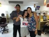 Walney Reis (coordenador da filial), Rosângela Lucena (colaboadora premiada) e Adriana Oliveira (supervisora da filial)