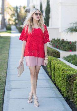 Chic Wish Blouse | Sarah Kosta 'Amor' Necklace | Scoop NYC Dress | Steve Madden Heels | Minx Minx bracelets c/o | Olive & Piper Bracelets | Celine Sunglasses | Linell Ellis Clutch