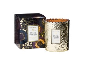 Japonica Crane Flower Embossed Glass Scalloped Edge Candle Voluspa $20 www.nordstrom.com