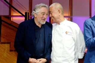 Robert De Niro and Nobu Matsuhisa all smiles at Nobu Newport Beach Sake Ceremony