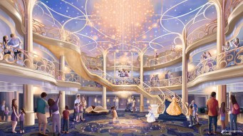 The three-story atrium of the Disney Wish will be a bright, airy and elegant space inspired by the beauty of an enchanted fairytale. It will serve as the gateway to an unparalleled vacation filled with experiences designed especially for families. (Disney)