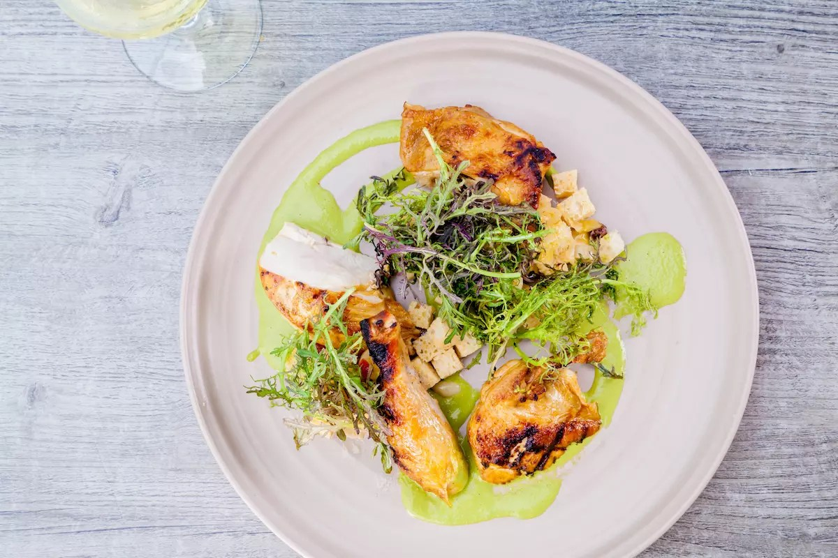 Grilled Half Chicken Green Goddess / Bread Salad / Red Mustard Frills Photography By: JP Cordero Photography