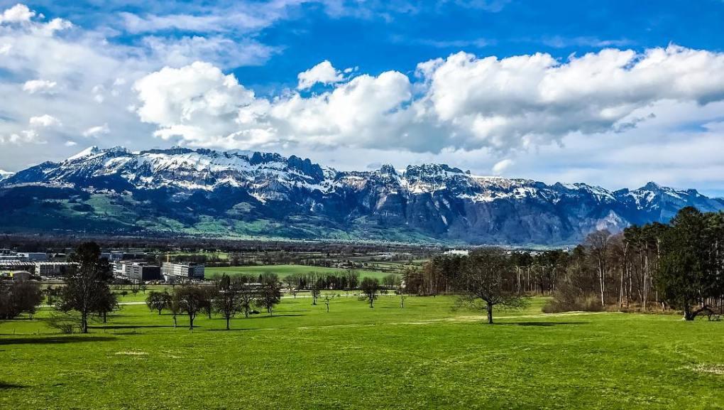 liechtenstein snow capped alps
