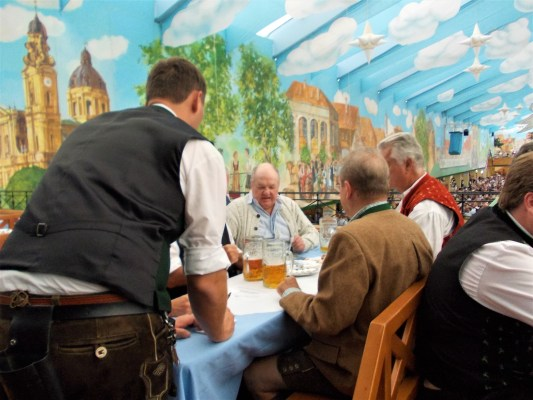 oktoberfest ground biergarten hackerr festzelt indoor orders