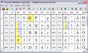Unibook™ Character Browser