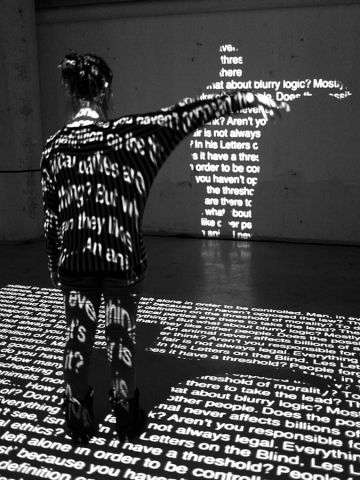 A multi-media installation uses typography and the most advanced digital technologies to ethically engage the audience.