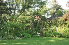 Manicured lawns set off the beauty of the gardens.