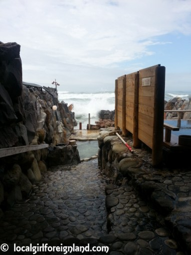 The crashing wave engulfed the bath... not safe