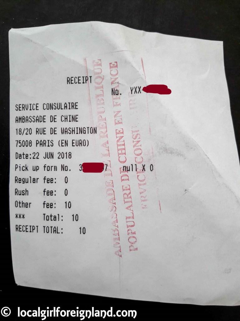Receipt-service-consulaire-ambassade-de-chine