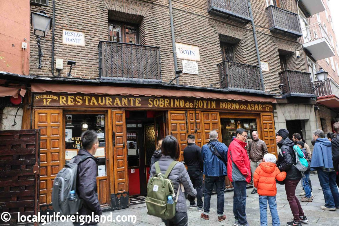 Restaurante Botín located at 17 Calle Cuchilleros. The world's oldest restaurant 1725.