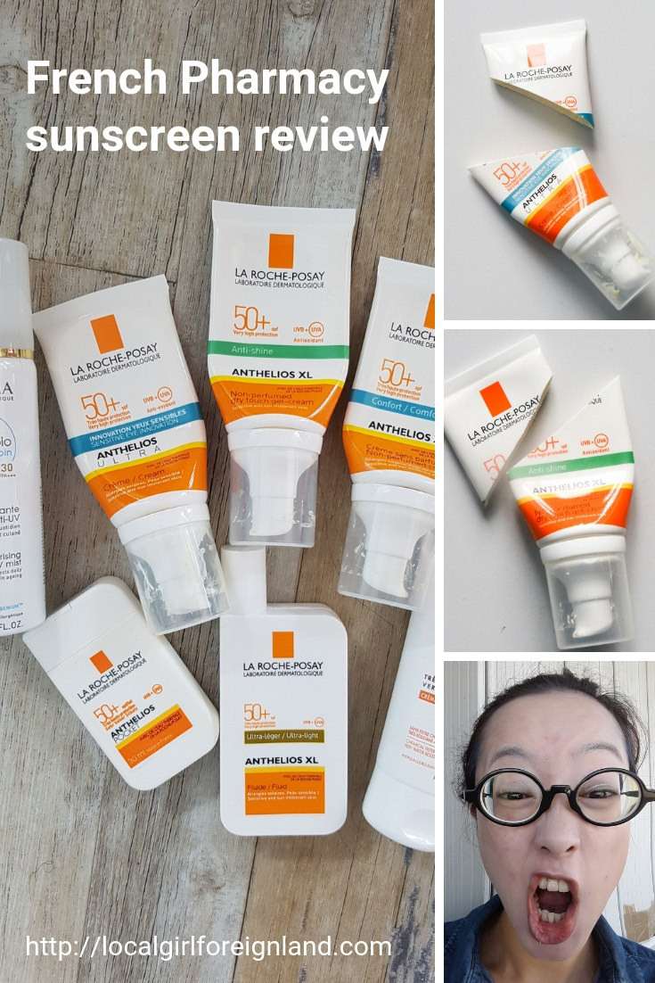 French pharmacy sunscreen review, empties