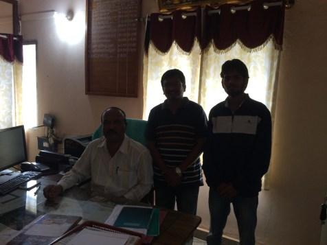 Vikash and Sanjay with Mr. Sanjeevappa, EO of Malur Taluk Panchayat