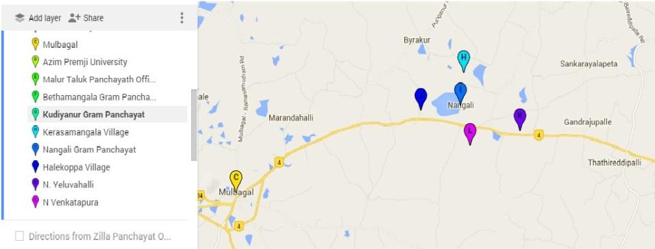 Our work locations in Nangali Gram Panchayat in Kolar district