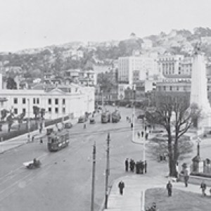 Elevated view of Lambton Quay and the Cenotaph War Memorial.