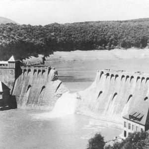 The Eder Dam, 1943, after the Dambusters' attack.