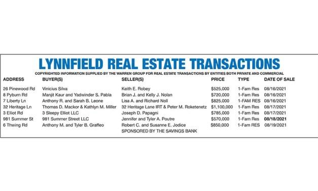 Lynnfield Real Estate Transactions published September 8, 2021