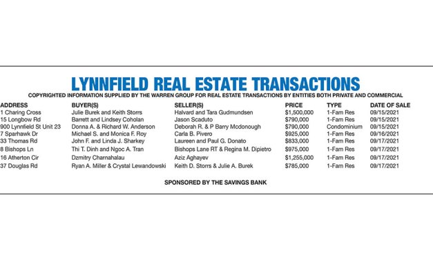 Lynnfield Real Estate Transactions published October 6, 2021