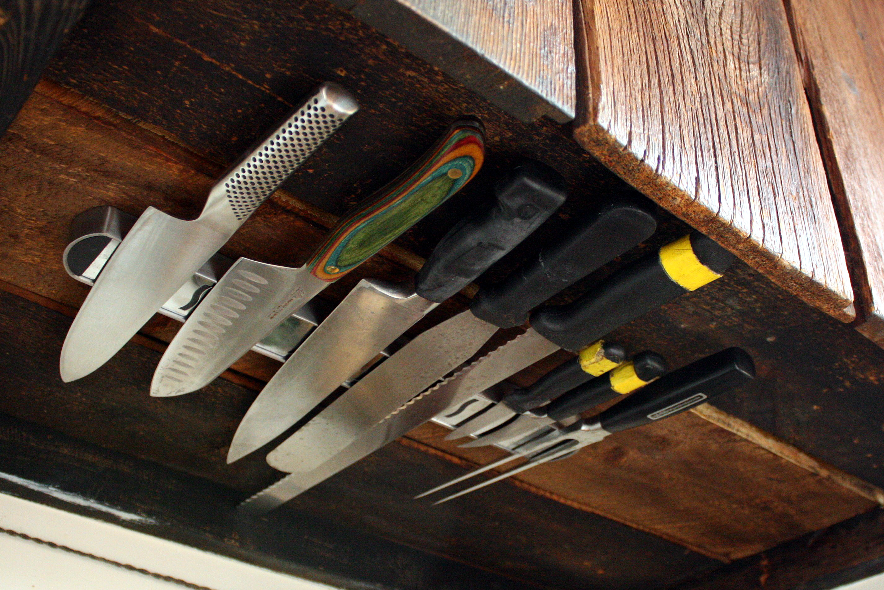 kitchen knife holder walmart decor space solutions under cabinet rack