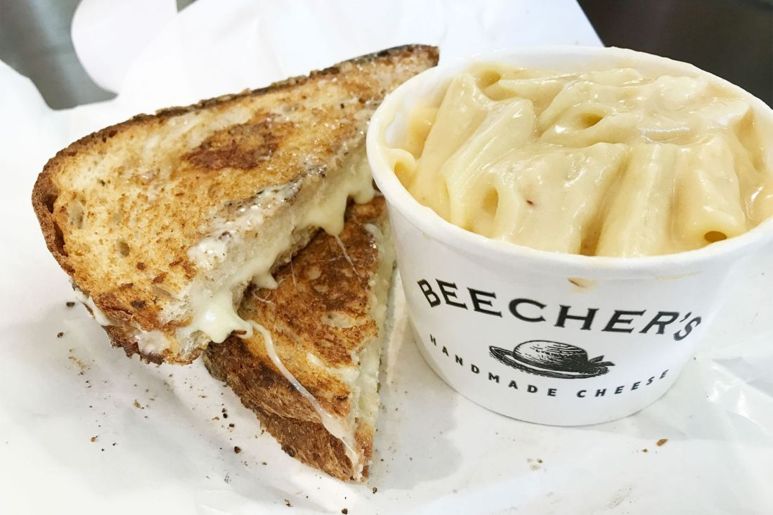 Grilled cheese sandwich and cup of creamy macaroni and cheese one of the things we ate in Seattle