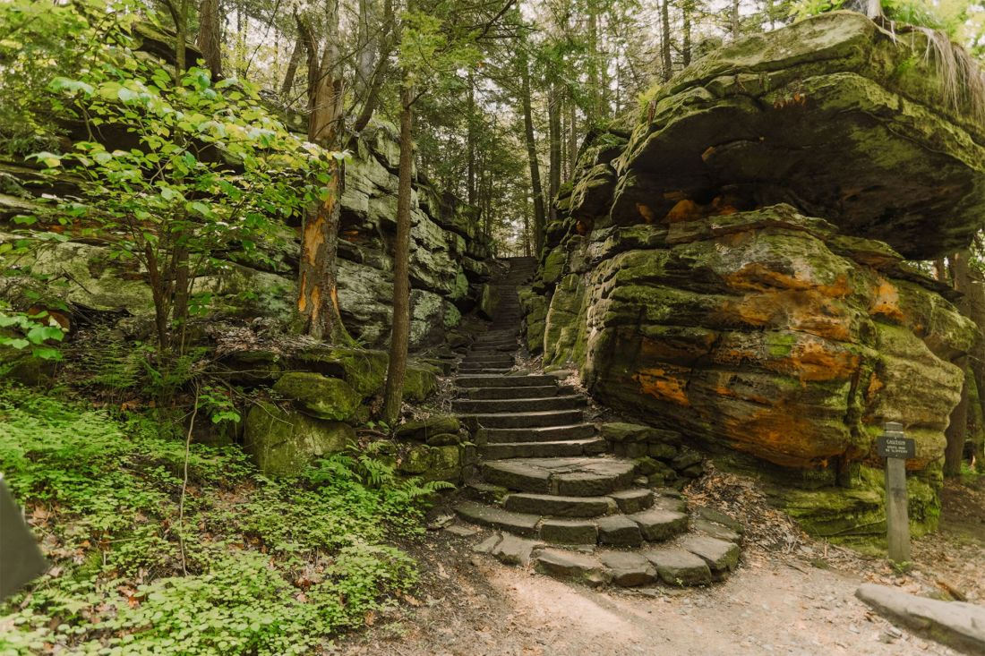 Moss covered rocky staircase