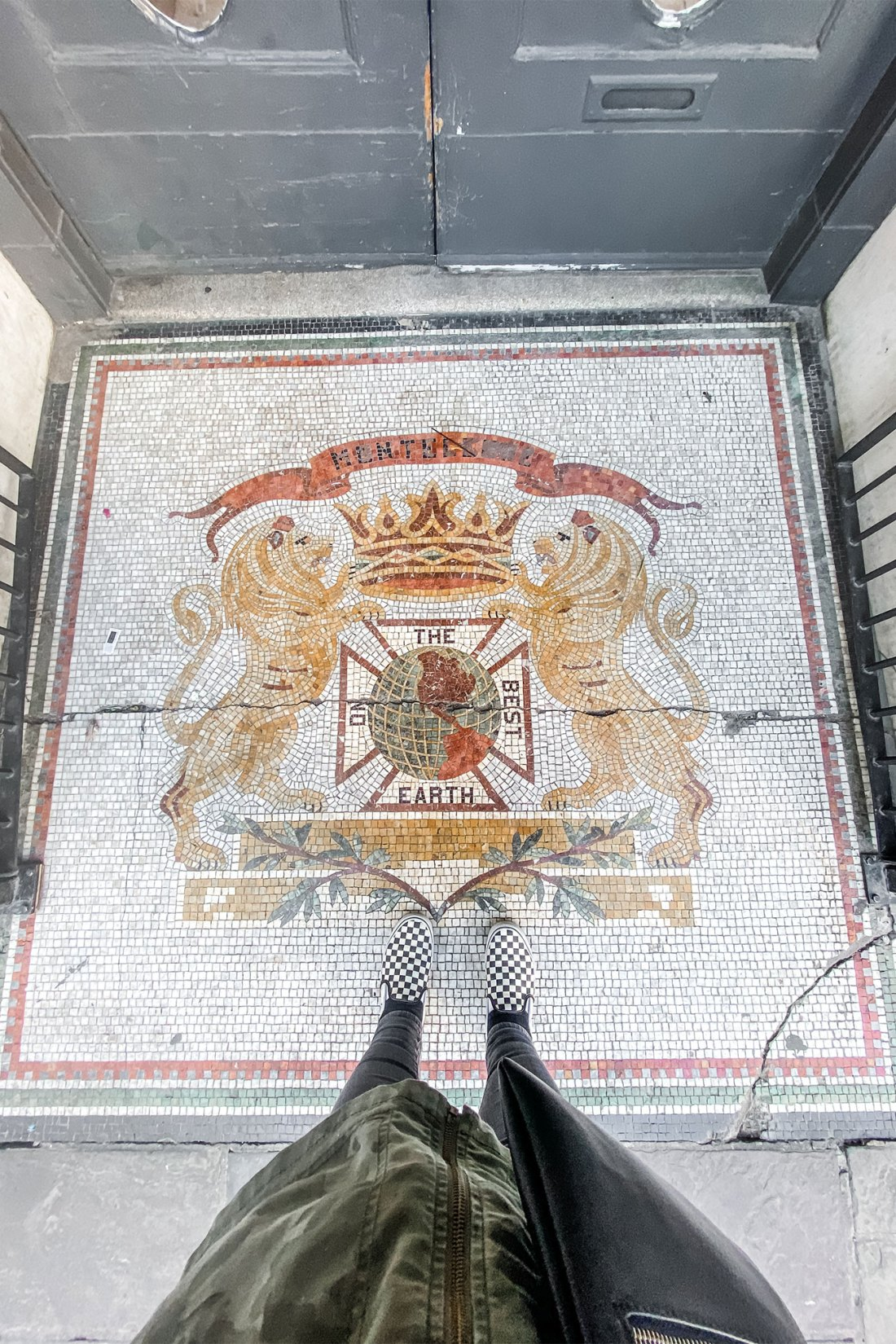 Feet on top of decorative tile
