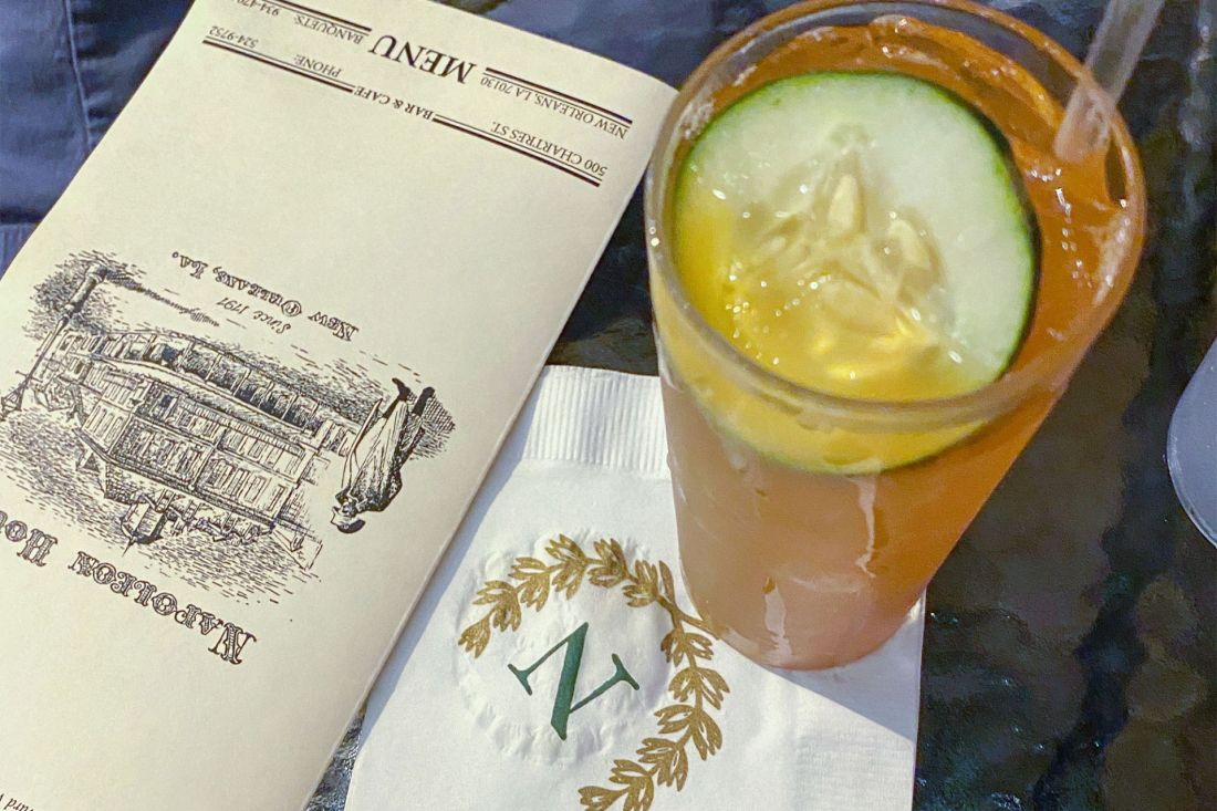 Garnished cocktail with napkin