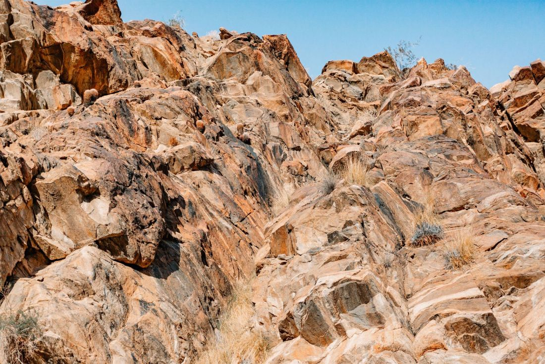 Alien like rock formations in Palm Springs Indian Canyons