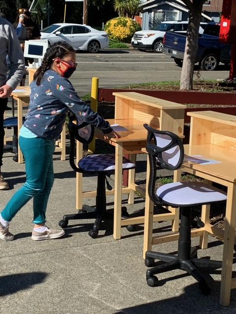Seniors4Students girl choosing desk
