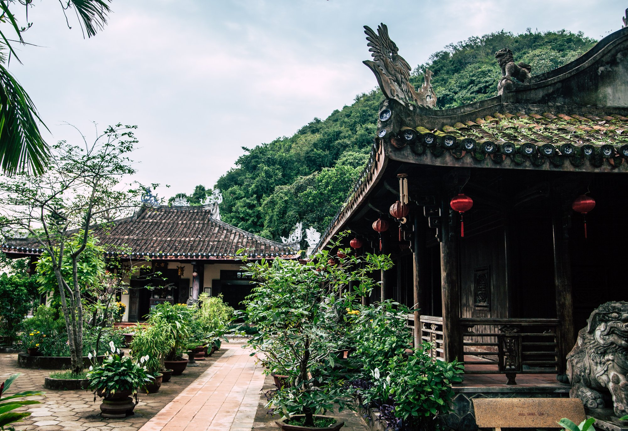 Temples and Gardens at the Marble Mountains in Da Nang Vietnam