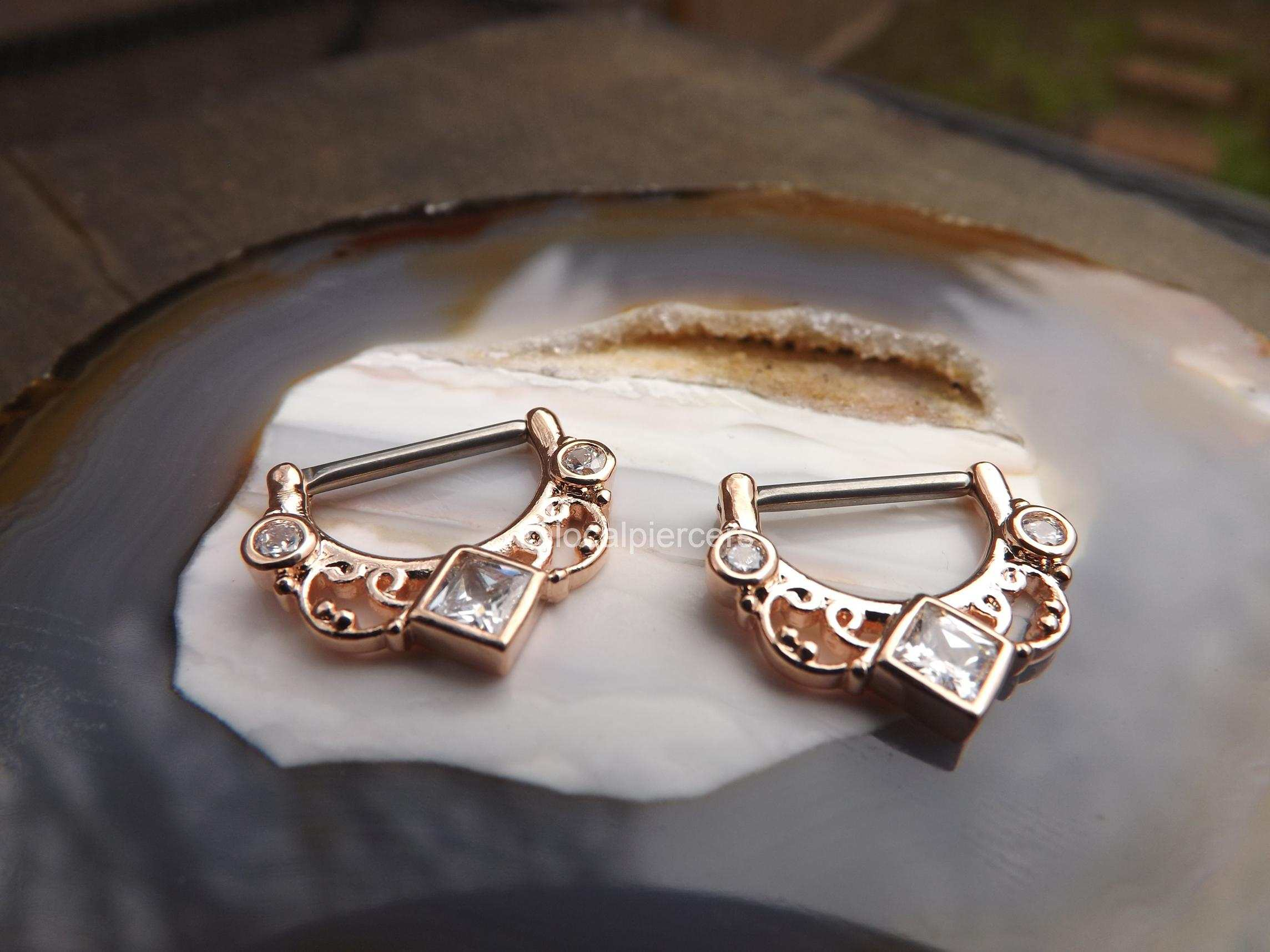 "14g Rose Gold Nipple Rings 16g 1/2"" Hinged Clicker Pair"