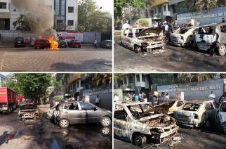 3 cars were completely charred and one was partially damaged. Picture Courtesy: Sunil Kanojia