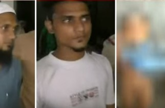 The shop owner and his sons have been arrested (right: a screengrab of the video, blurred)