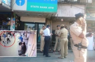 Police at the spot where the cash van was parked in Dharavi (inset: a screengrab of the CCTV footage where 2 accused were caught)