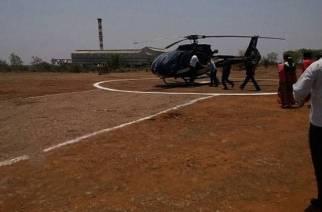 Eknath Khadse landing at Latur