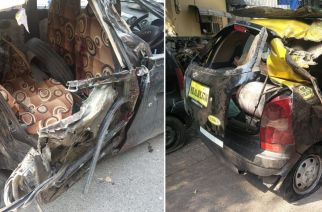 The taxi involved in the accident. Picture Courtesy: Prashant Parab/Twitter