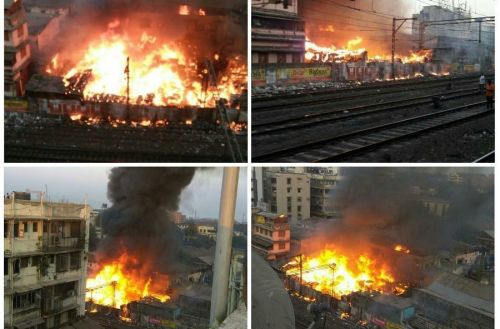 Picture of the fire at LLC Compound at Dana Bazaar. Picture Courtesy: Ashwin Gandhi & Pravin Mulye (Maharashtra Times)