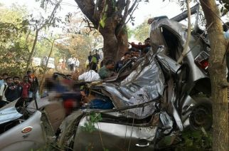 The wreckage of the Xylo SUV after the accident