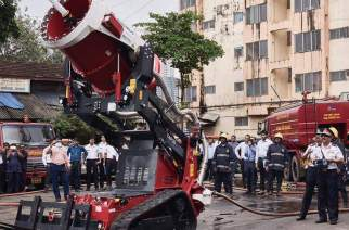 The firefighting robot demonstrating its capabilities at department headquarters in Byculla. Picture Courtesy: Shyam Agrawal