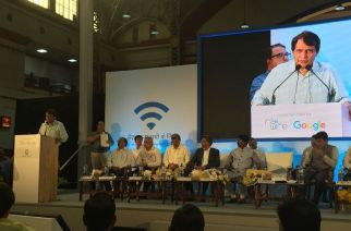 Railway Minister Suresh Prabhu at the launch of the service at Mumbai Central Station