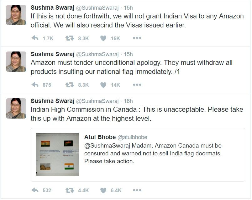 Amazon removes doormats with Indian flag after Sushma Swaraj threatens to stop granting visa to its employees 2