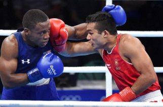 Vikas Krishan Yadav in action at Rio 2016