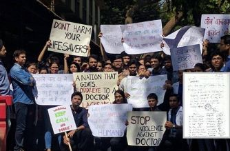 Doctors protesting against attacks by patients' relatives (inset: letter by resident doctors of Bhabha hospital)