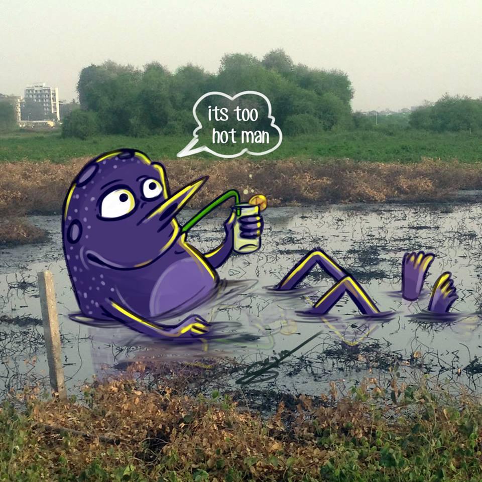 In pictures: Artist adds 'monsters' to daily life in Mumbai 12